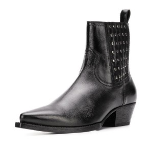 Black Vegan Leather Chunky Heel Boots Studs Ankle Booties
