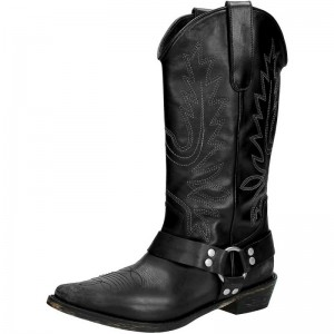 Black Vegan Leather Cowgirl Boots Low Heel Mid Calf Boots