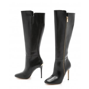 Black Long Boots Side Zip Stiletto Heel Knee High Boots