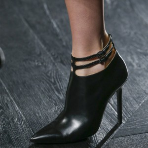 Black Vegan Leather Stiletto Boots Pointy Toe Buckles Ankle Booties