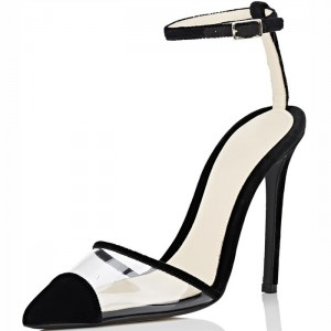Black Velvet and Clear PVC Ankle Strap Heels Sandals