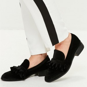 Black Velvet Frill Block Heels Loafers for Women
