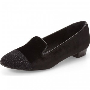 Black Velvet Loafers for Women Glitter Comfortable Flats