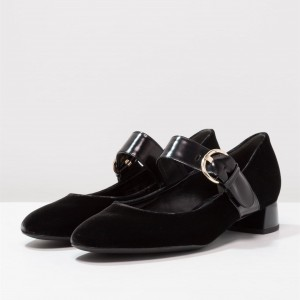 Black Velvet Mary Jane Pumps Buckle Block Heels Office Shoes