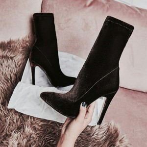 Black Velvet Stiletto Boots Pointy Toe Ankle Booties