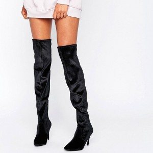 Black Velvet Stiletto Heels Long Boots Almond Toe Over-the-Knee Boots