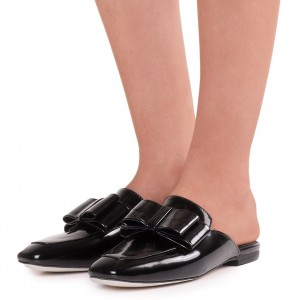 Black Vintage Bow Patent Leather Flat Mule Loafers for Women