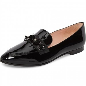 Black Vintage Flower Beads Loafers for Women