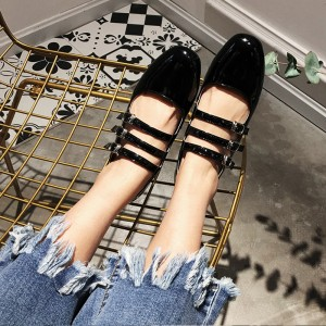Black Vintage Heels Square Toe Mary Jane Pumps for Girls