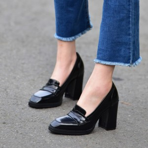 Black Patent Leather Block Heel Square Toe Heeled Loafers for Women