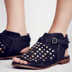 Black Vintage Shoes Slip-on Suede Rivets Comfortable Flats