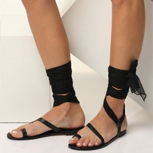 Black Vintage Strappy Gladiator Sandals with Black Scarves