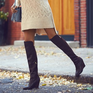 Black Wedge Booties Sexy Almond Toe Knee-high Boots