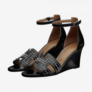 Black Wedges Sandals Vintage Legend Ankle Strap Sandals with Studs