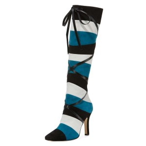 Black White Blue Three-tone Strap Long Boots Stiletto Knee-high Boots