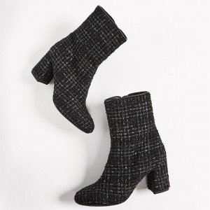 Black Tweed Round Toe Block Heel Boots Zipper Ankle Booties