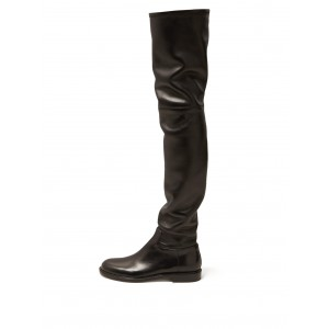 Black Zip Flat Thigh High Boots