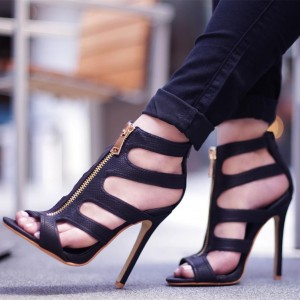 Black Zipper Caged Zipper Peep Toe Stiletto Heel Sandals