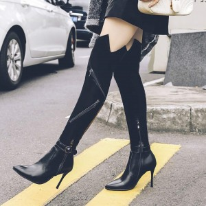 Black Zips Buckles Stiletto Boots Over-the-knee Boots