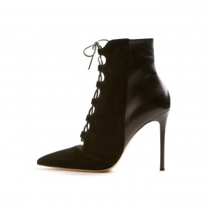 Fashion Black Lace Up Boots Suede Stiletto Heel Pointy Toe Ankle Boots