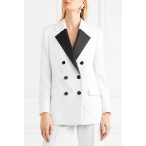 Women's White Double-breasted Wool Blazer