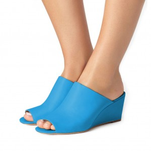 Blue 3 Inch Heels Peep Toe Wedge Sandals for Women