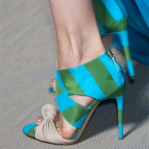 Blue and Green Evening Shoes Stripes Open Toe Stiletto Heel Sandals