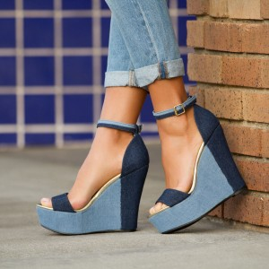 Navy Open Toe Wedge Sandals Vintage Denim Ankle Strap Multicolor Shoes