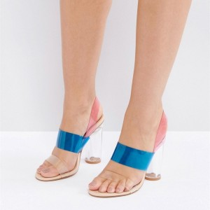Blue and Pink Transparent Chunky Heel Sandals PVC Slingback Sandals