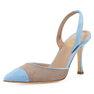 Blue and Taupe Pointy Toe Spool Heel Slingback Pumps