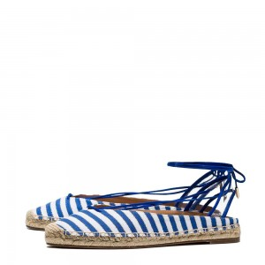 Blue and White Chambray Strappy Comfortable Flats