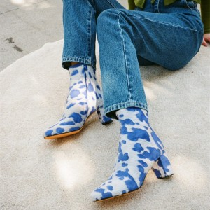 Blue and White Horsehair Block Heel Boots Almond Toe Ankle Boots