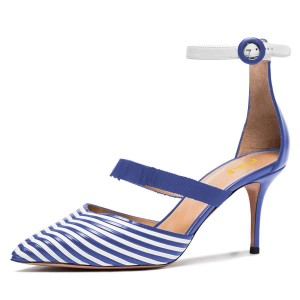 Blue and White Stripe Pointy Toe Ankle Strap Stiletto Heels Pumps