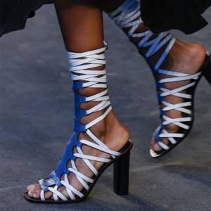 Blue and White Vegan Leather Strappy Sandals Sexy Chunky Heel Sandals