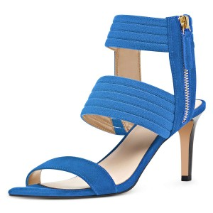 Blue Ankle Strap Stiletto Heel Sandals for Women