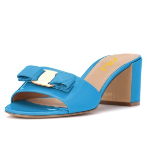 Blue Block Heels Sandals Open Toe Mule with Bow