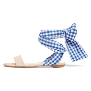 Blue Canvas Bow Plaid Strappy Sandals