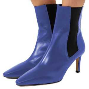 Blue Chelsea Boots Stiletto Heel Low Heel Ankle Boots