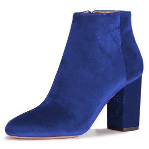 Royal Blue Velvet Boots Round Toe Chunky Heel Office Ankle Boots
