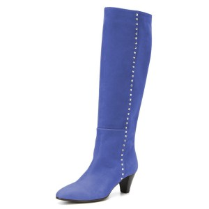 Blue Chunky Heel Long Boots Knee High Boots