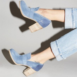 Blue Chunky Heels Round Toe Suede Heeled Oxfords Retro Pumps