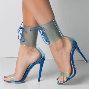 Blue Clear Heels  Lace up Sandals Stiletto Heels Open Toe Sandals