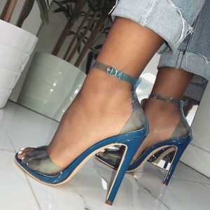 Blue Clear Heels Sandals Peep Toe Stilettos PVC Ankle Strap Sandals