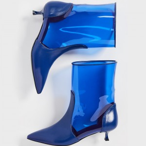 Blue Clear PU PVC Kitten Heel Ankle Booties