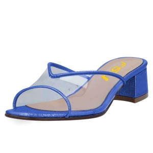 Blue Clear PVC Mule Heels Block Heel Sandals