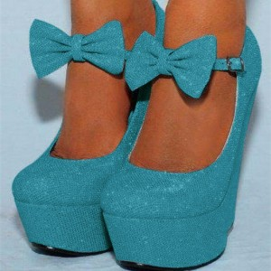 Blue Closed Toe Wedges Sparkly Platform Pumps for Prom