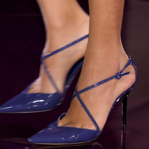 Blue Cross over Stiletto Heels Patent Leather Pointed Toe Sandals