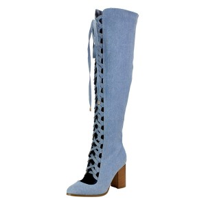 Blue Denim Lace Up Boots Side Zipper Chunky Heel Over-the-knee Boots