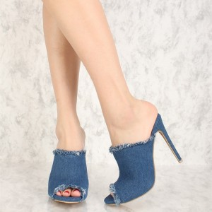 Blue Denim Peep Toe Stiletto Heel Mules Sandals