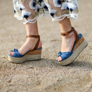 Blue Denim Platform Sandals Vintage Jean Slingback Sandals